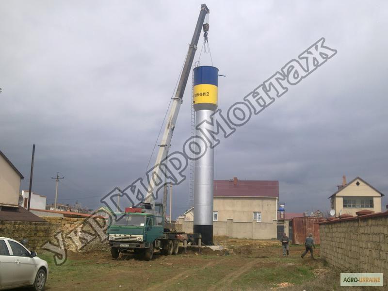 Бурение скважины под воду и установка водонапорной башни