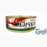 Бычки в томатном соусе с бобово-овощным гарниром, 240 г
