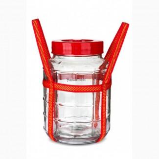 Бутыль стеклянный 9 л. с крышкой и затвором
