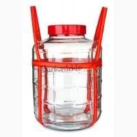 Бутыль стеклянный 25 л. с крышкой и затвором