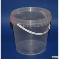 Продам ведро пластиковое прозрачное с крышкой 1л