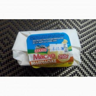 Масло сливочное «Вологодське» Эталон 82, 5% 250г