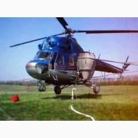 Десикация подсолнечника вертолетами Ми-2