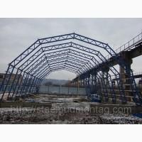 Монтаж металлоконструкций. Строительство ангара арочного