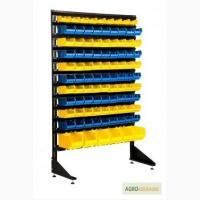 Пластиковый ящик для склада и стойка универсальная